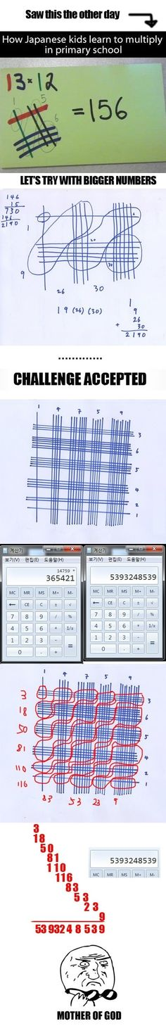 Funny pictures about Clever Japanese Math. Oh, and cool pics about Clever Japanese Math. Also, Clever Japanese Math photos. Japanese Math, Japanese School, The More You Know, Good To Know, Multiplication Tricks, Multiplication Tables, E Mc2, Random Stuff, Cool Stuff