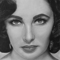 Liz I by *jsblank on deviantART [drawing of Elizabeth Taylor]
