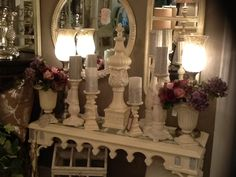 Chalk painted finials and candle holders.