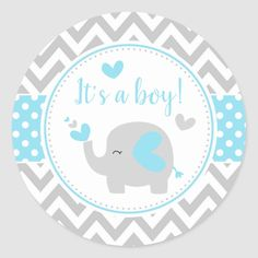 Shop Blue and Gray Elephant Chevron It's A Boy Classic Round Sticker created by KlouiseDigiParty. Deco Baby Shower, Baby Shower Party Supplies, Baby Shower Fall, Baby Shower Favors, Baby Shower Cakes, Baby Shower Parties, Baby Boy Shower, Dibujos Baby Shower, Imprimibles Baby Shower