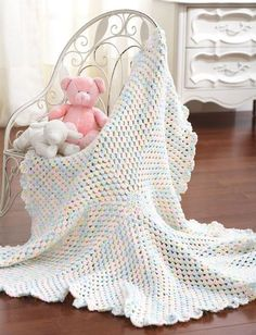 "Marshmallow Baby Blanket ~ easy level ~finished size approx. 42"" in diameter ~ FREE - CROCHET - like a marshmallow it is lightweight and soft"