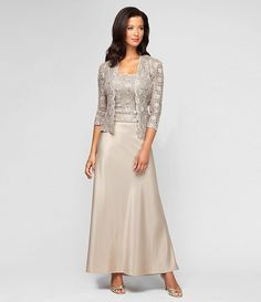 Champagne:Alex Evenings Lace & Charmeuse Jacket Dress