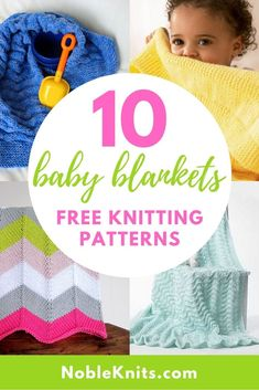 Looking for some quick and easy knitting projects for baby? Cast on one (or all) of these 10 free knitting patterns for baby blankets - suitable for beginners and advanced beginner knitters. Beginner Knitting Patterns, Easy Knitting Projects, Knitting For Beginners, Free Knitting, Baby Knitting, Simple Knitting, Knitting Bags, Yarn Projects, Cotton Baby Blankets