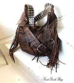 87bc1ca050 Dark brown distressed leather hobo large raw edge bag fringe long fringes  asymmetrical tribal bohemian western boho raw edge unique