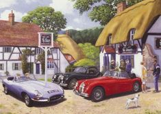 GBP - Jaguar E-Type Classic British Sports Car Blank Birthday Fathers Day Card & Garden Jaguar E Type, Jaguar Cars, Jaguar Xk, Nostalgic Art, British Sports Cars, Puzzle Art, Truck Art, Country Paintings, Poster