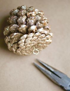 Use an eye screw in pine cones for hanging them