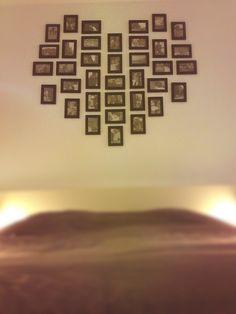 Loveheart above bed in bedroom  36 lijstjes van Ikea met zwart wit foto   10x15 cm
