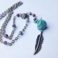 Arizona Rosary Necklace-Blue Skull