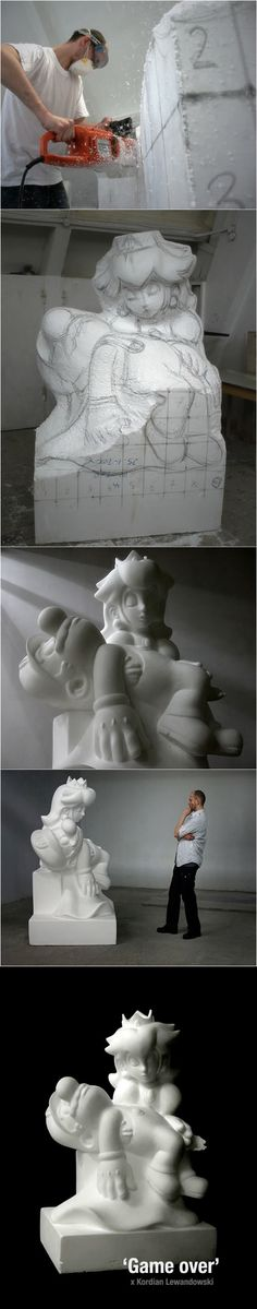 Fortunately I never got a Game Over in my recent play through of Super Mario World, but that doesn't make this sculpture any less awesome. La Pieta, Pieta Statue, Creation Art, Cartoon Kunst, Amazing Art, Awesome, Wow Art, Mario Bros, Video Game Art
