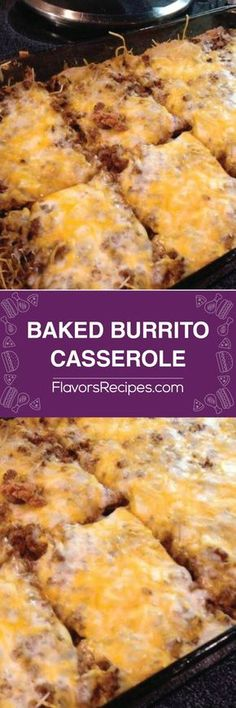 BAKED BURRITO CASSEROLE 1 pound of ground beef 1 small onion, chopped 1 pack of taco seasoning 1 can refried beans 1 can cream of mushroom soup, undiluted cup sour cream 1 pack large flour tortillas 2 cups of shredded Mexican blend cheese Healthy Potato Recipes, Sweet Potato Recipes, Cauliflower Recipes, Ground Beef Recipes Potatoes, Ground Hamburger Recipes, Ground Beef Recipes Mexican, Healthy Meals, Burrito Casserole, Potatoe Casserole Recipes