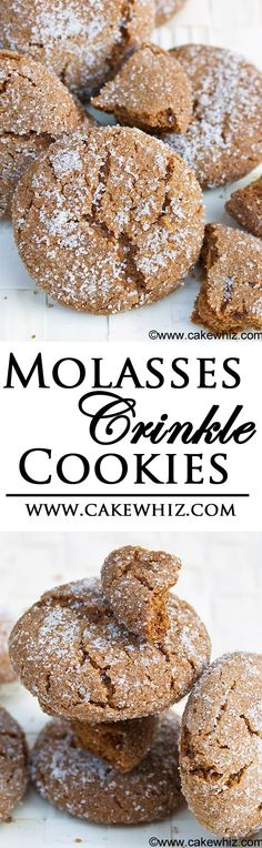 These are the best MOLASSES CRINKLE COOKIES ever! Crispy and sugary on the outside and very soft on the inside! From cakewhiz.com