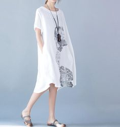Loose fitting round neck short sleeved cotton dress big by MaLieb