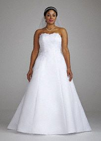 Strapless satin A-line gown with beaded lace and scalloped sweetheart neckline. Chapel train. Missy: Style T8763R.