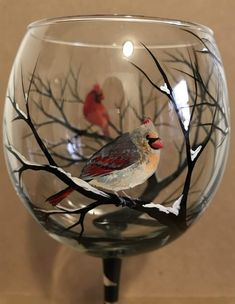 Bird Wine Glass Cardinal Bluejay Any Two Species Winter Snowy Branches Stemless Nature Wildlife Hand Painted Collectible Stemware Unique Broken Glass Art, Sea Glass Art, Wine Glass Crafts, Wine Bottle Crafts, Bottle Painting, Bottle Art, Hand Painted Wine Glasses, Crushed Glass, Lampe Led