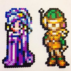 Princess Schala and Lucca - Chrono Trigger perler beads by pixelizedcreations