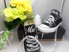 Black Converse All-Star Chuck Taylor Oxford customized with a Personalized Mrs on one shoe and Last Name on other shoe vinyl design by Bandana