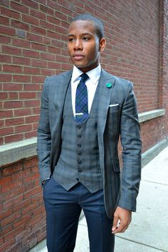 Waist Coat & Suit Jacket by @Indochino (Baltimore Buzz Olive Green Suit) featured - http://mensstylepro.com/2012/11/26/bold-suit-vol-i-the-olive-green-checked-suit/ (Sabir M. Peele)