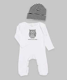 Look what I found on #zulily! White & Black 'Whooo's Your Baby' Playsuit & Beanie by Truffles Kids #zulilyfinds