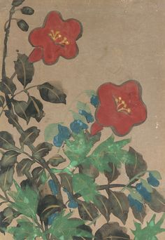 Red and blue flowers and foliage, 1615-1868 (Edo period) Japanese Art