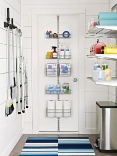 See this organized laundry room with door racks, tool holders and adjustable shelving at HGTV.com.