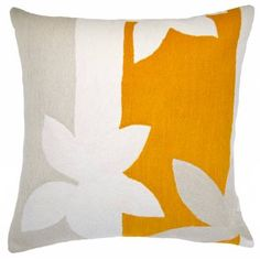 Judy Ross Textiles Hand-Embroidered Chain Stitch Sunset Throw Pillow cream/oyster/marigold