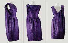 1962 Balenciaga Haute Couture, A PURPLE CLOQUÉ SILK COCKTAIL DRESS WITH ASYMMETRIC DRAPED 'SACK'