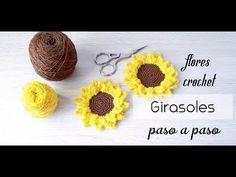 Como hacer girasoles en crochet paso a paso (Flores de ganchillo) - YouTube Crochet Granny, Crochet Hats, Crochet Letters, Doll Tutorial, Crochet Basics, Crochet Flowers, Crochet Projects, Biscuit, Tatting