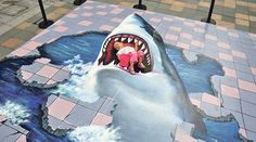street art around the world – in pictures pavement art: 17 July A child plays on a street painting in Fuzhou, China 3d Street Painting, 3d Street Art, Amazing Street Art, 3d Painting, Street Art Graffiti, Shark Painting, Illusion Kunst, Illusion Art, Graffiti Ideas