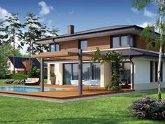 Pergola Connected To House Double Storey House Plans, Two Story House Plans, Dream House Plans, Dream Houses, Modern House Colors, Contemporary Sheds, House Columns, Flat Roof House, Exterior Remodel