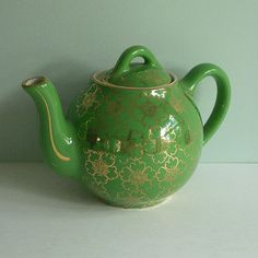Hall China 2Cup Teapot Green with Gold French Flower by tparty, $39.90