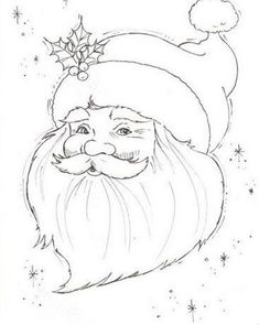 Wouldn't this Santa look great stitches on a blue background. and various shades of white for his beard, mustache, hat band and pom, pom. Red of course for the hat. Maybe silver for the stars. Christmas Rock, Christmas Pictures, Christmas Colors, Christmas Projects, Xmas, Christmas Drawing, Christmas Paintings, Christmas Coloring Pages, Coloring Book Pages