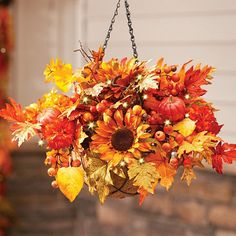 Autumn Mums And Sunflowers Fall Hanging Basket Improvements Artificial Hanging Baskets, Plants For Hanging Baskets, Fake Plants Decor, Fall Plants, Diy Hanging, Hanging Planters, Plants Indoor, Fall Diy, Fake Flowers