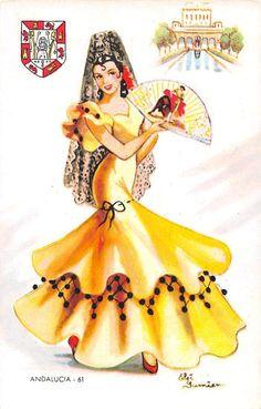 Andalusia n°61, background Real Alcazar, Sevilla Spanish Woman, Spanish Art, Spanish Ladies, Flamenco Costume, Flamenco Dancers, Vintage Postcards, Vintage Images, Dancing Drawings, Spanish Fashion