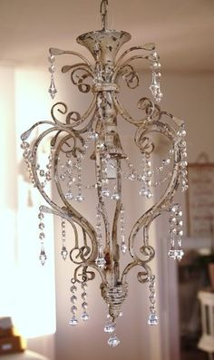 Vintage French Soul ~ Pretty chandelier would be perfect for above the tub ... Ahhhhhhhhhhhhhhh #ToppsTiles