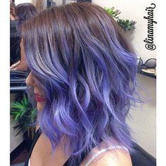 purple brunette ombre on a choppy/wavy lob More