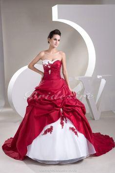 Ball Gown Sweetheart Chapel Train Sleeveless Taffeta Organza Wedding Dress - $222.99