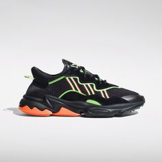 Powered by the past, built for the future, the returns with a futuristic design approach. Inspired by DNA, the updated OZWEEGO features defined midsole lines and a translucent support tube. Shoes Gif, Fashion Show Party, Sport Fashion, 90s Fashion, Fasion, Buy All The Things, Minimalist Shoes, Adidas Outfit, Green Shoes