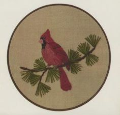 Cardinal Crewel Kit  This Crewel Embroidery Kit includes a pre-printed 100% linen canvas, yarn and needles as well as detailed instructions. Please note: embroidery hoop is not included. Frames to 8 inch circle or square. $20.00