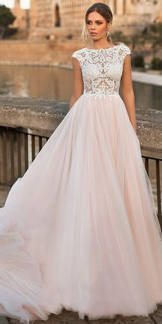 f25740516a Romantic Tulle Jewel Neckline See-through Bodice A-line Wedding Dress With  Lace Appliques