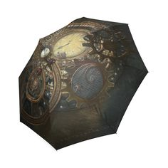 Painting Steampunk clocks and gears Foldable Umbrella (Model Steampunk Clock, Gear S, Clocks, Model, Painting, Steampunk Watch, Watches