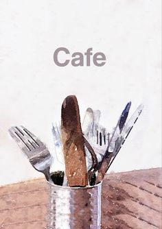 Cutlery in a tin can on a wooden table in a cafe setting with text 'Cafe' Snack Recipes, Snacks, Wooden Tables, Light Recipes, Card Designs, Cutlery, That Way, Card Stock, Greeting Cards