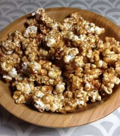 Caramel popcorn made with brown rice syrup and almond butter