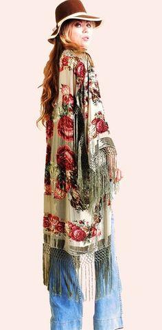 Kite and Butterfly - Long Mint Jacket #bohemian #gypsy #kimono #vintagestyle #fringe