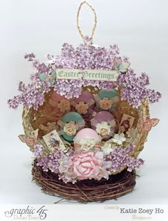 """""""Easter Greetings"""" nest by Katie using Sweet Sentiments. So gorgeous! #graphic45"""