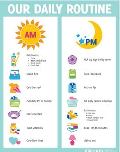 Routine for kids. Put in their room to serve as a reminder :)