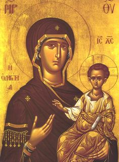 Icons of the Mother of God. Good short article on symbolism in icons of the Theotokos. [The Theotokos and Christ] Greek Icons, Church Icon, Russian Icons, Byzantine Art, Holy Mary, Madonna And Child, Blessed Virgin Mary, Orthodox Icons, Blessed Mother
