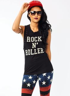 rock n roller studded graphic tank