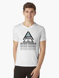 """Stay Home"" T-shirt Home T Shirts, Tshirt Colors, Neck T Shirt, Heather Grey, Shirt Designs, V Neck, Tees, Model, Mens Tops"