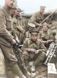 'B' Company 1st. Battalion Scots Guards in 'Big Willie' Trench, at Loos September/October 1915. Mills Bomb box on the right, it contains 6 grenades, at each end tin in centre contains fuses for grenades.