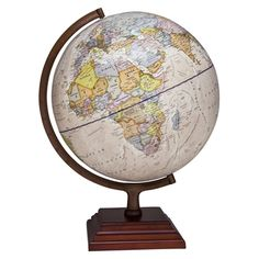The Atlantic globe by Waypoint Geographic features an up-to-date 12-inch Antique Ocean globe with Bronze color finished metal and numbered meridian. The square three tier stepped wood base finished in a dark cherry color compliments the globe which can be used for reference and decor for the home or office.  #desktopsglobes #decorglobes #educationaltools #educationaltoys